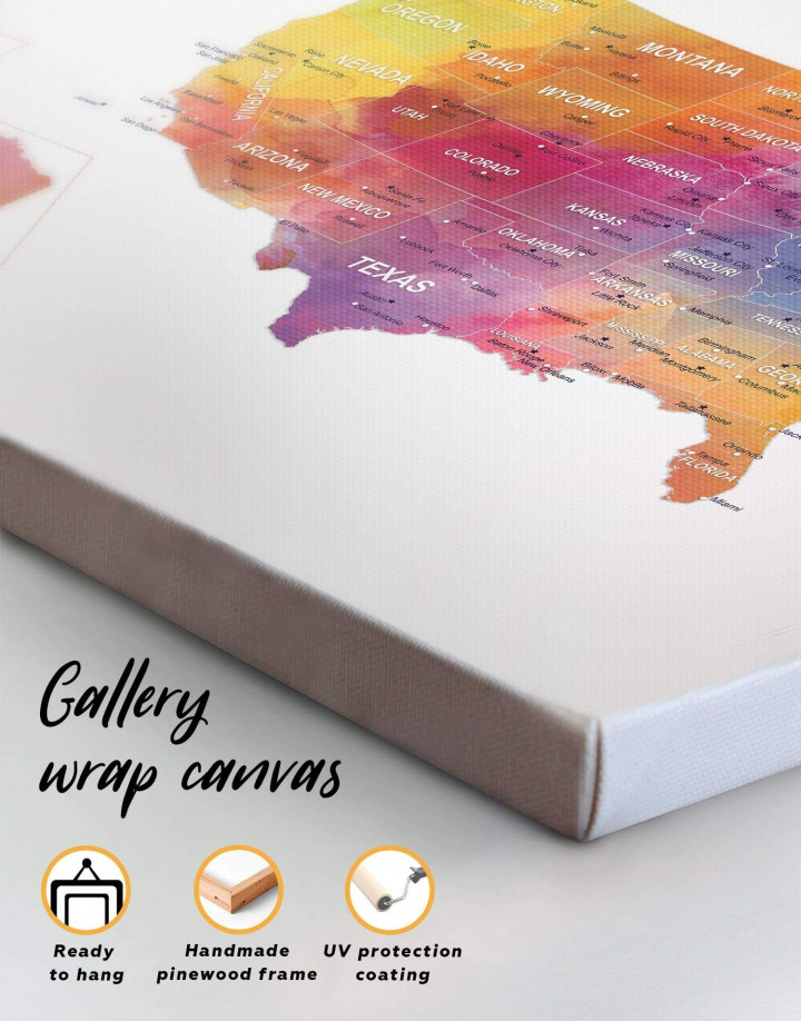 Watercolor US Travel Map Canvas Wall Art - Image 4