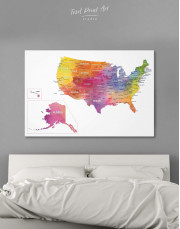 Watercolor US Travel Map Canvas Wall Art - Image 6