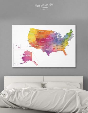Watercolor US Travel Map Canvas Wall Art - image 1