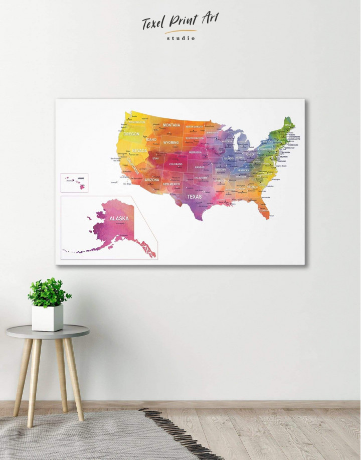 Watercolor US Travel Map Canvas Wall Art - Image 0