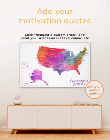 Watercolor US Travel Map Canvas Wall Art - image 6