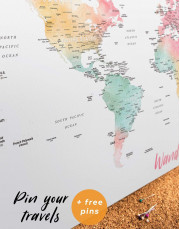 World Map with Cities Canvas Wall Art - Image 4