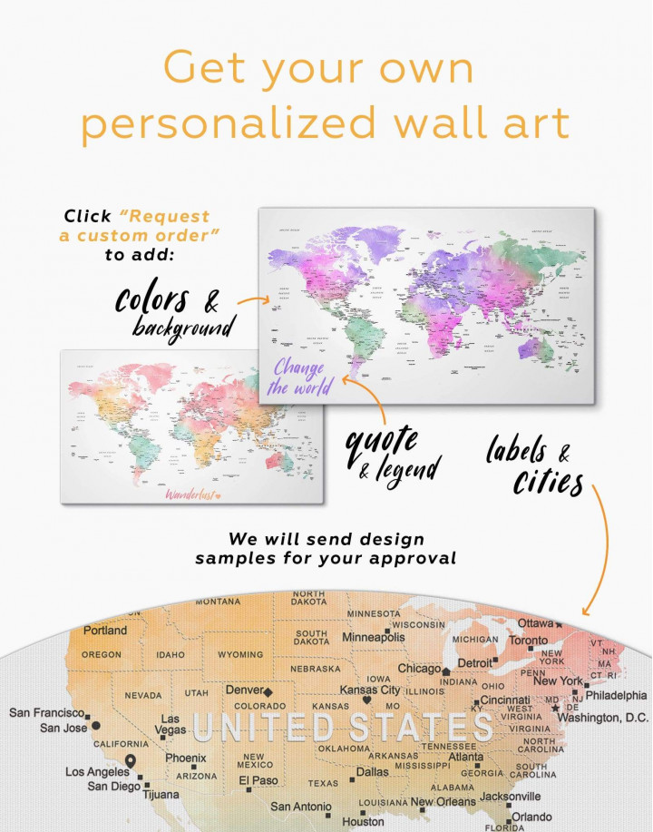 World Map with Cities Canvas Wall Art - Image 3