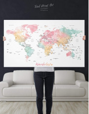 World Map with Cities Canvas Wall Art - Image 5
