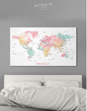 World Map with Cities Canvas Wall Art - Image 0