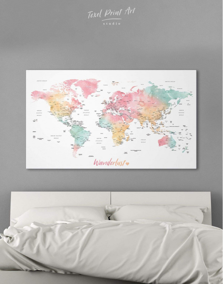 World Map with Cities Canvas Wall Art