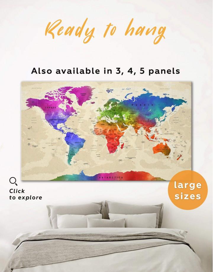 Rainbow Travel Map  Canvas Wall Art - Image 5