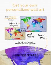 Rainbow Travel Map  Canvas Wall Art - Image 3