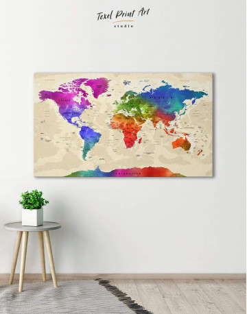 Rainbow Travel Map Canvas Wall Art