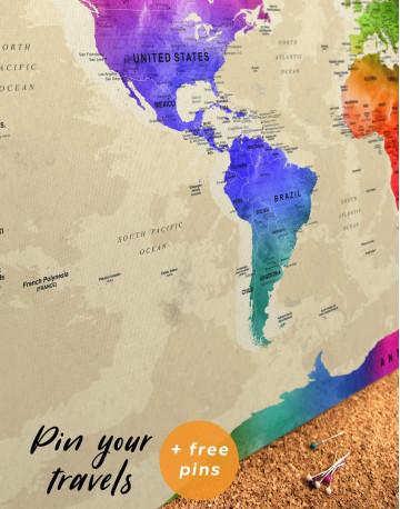 Rainbow Travel Map Canvas Wall Art - image 6