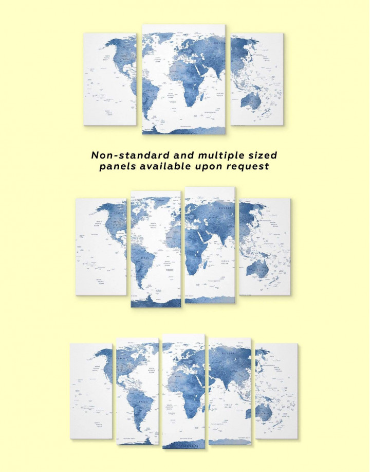 Blue and White Map  Canvas Wall Art - Image 1