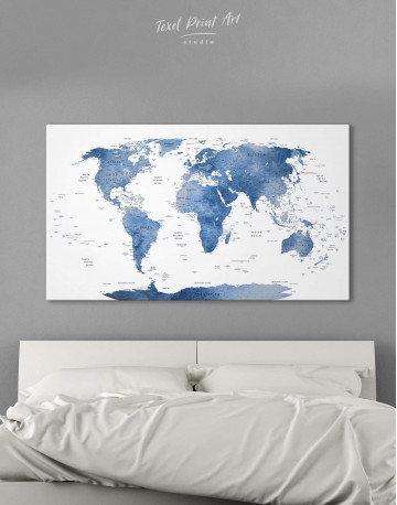 Blue and White Map Canvas Wall Art - image 6
