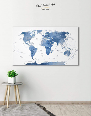 Blue and White Map Canvas Wall Art