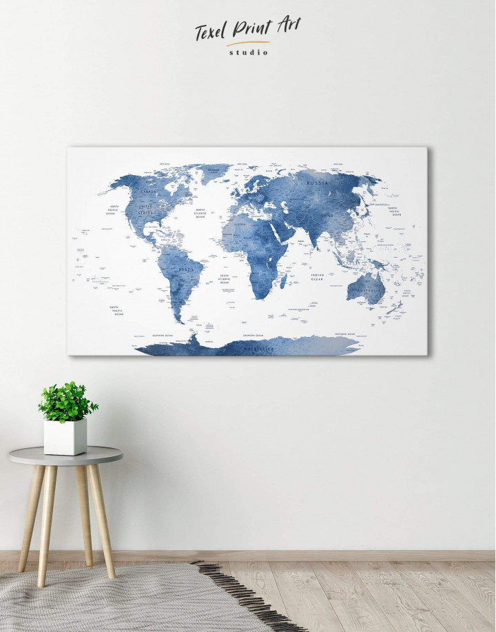 Blue and White Map  Canvas Wall Art - Image 0