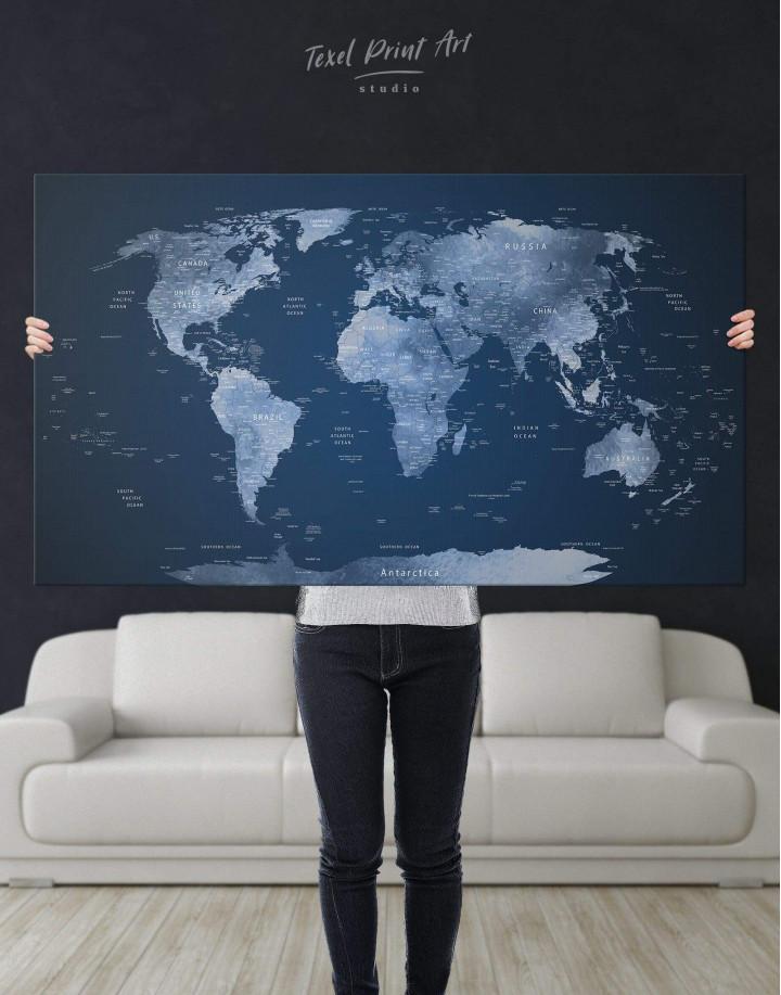 Deep Blue World Map  Canvas Wall Art - Image 2