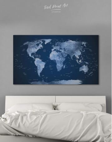 Deep Blue World Map Canvas Wall Art - image 1