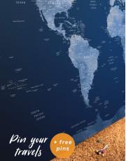 Deep Blue World Map  Canvas Wall Art - Image 3