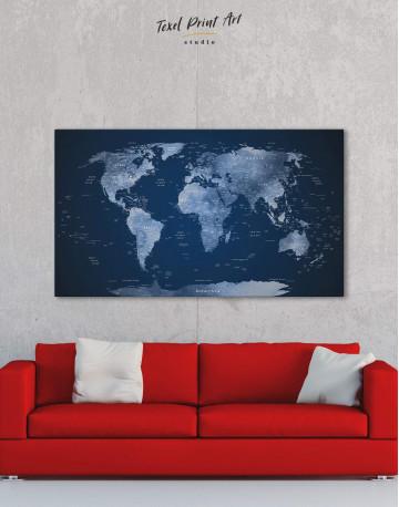 Deep Blue World Map Canvas Wall Art