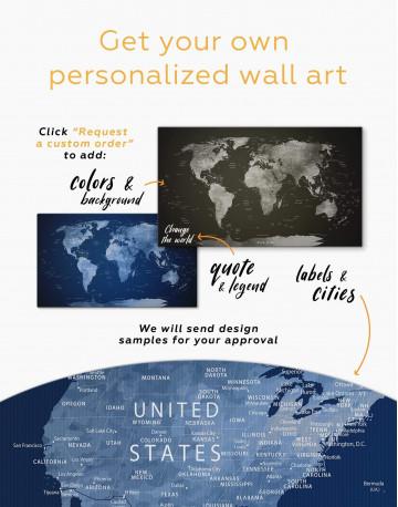 Deep Blue World Map Canvas Wall Art - image 4