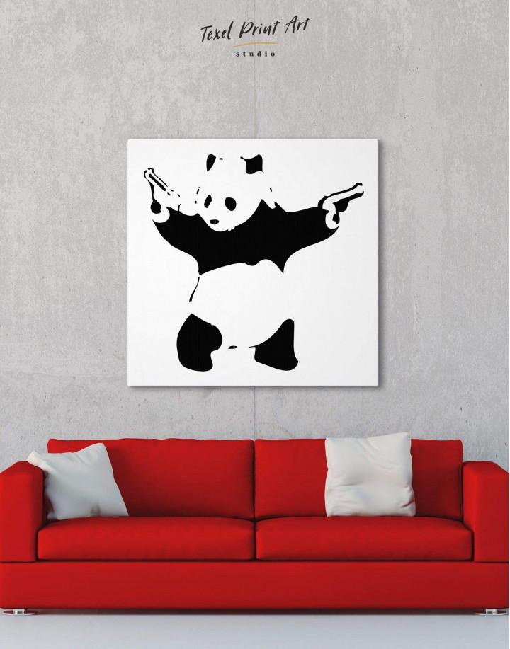 Panda with Guns by Banksy Canvas Wall Art - Image 1