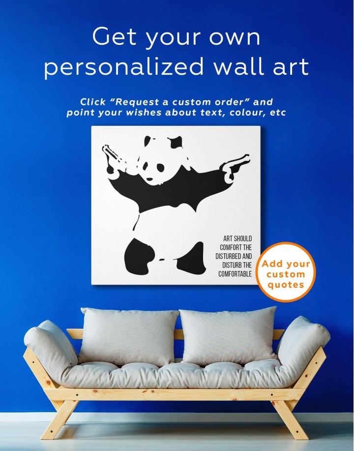 Panda with Guns by Banksy Canvas Wall Art - Image 3