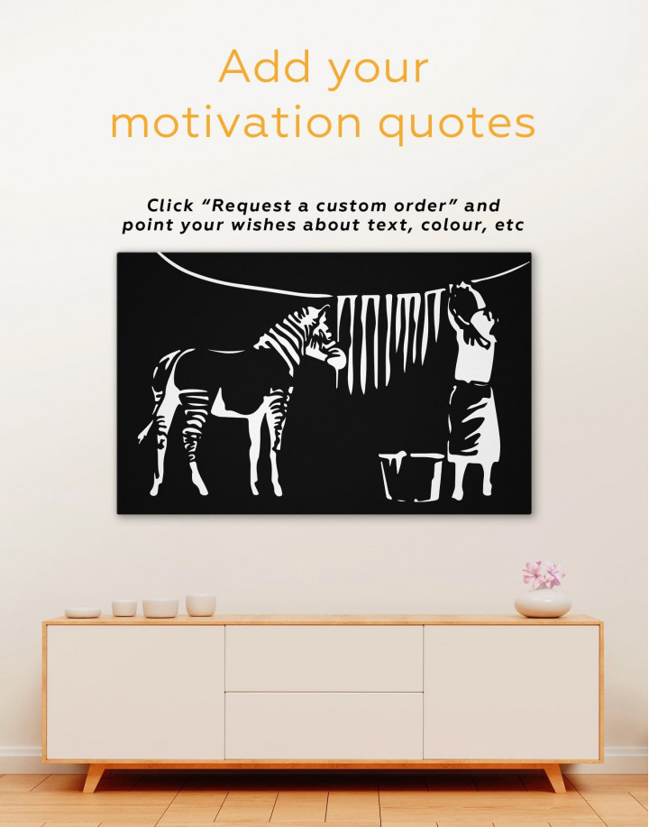 Washing Zebra Stripes by Banksy Canvas Wall Art - Image 1