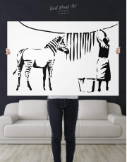Washing Zebra Stripes by Banksy Canvas Wall Art - Image 2