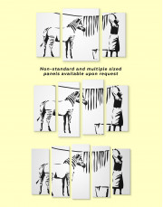 Washing Zebra Stripes by Banksy Canvas Wall Art - Image 4