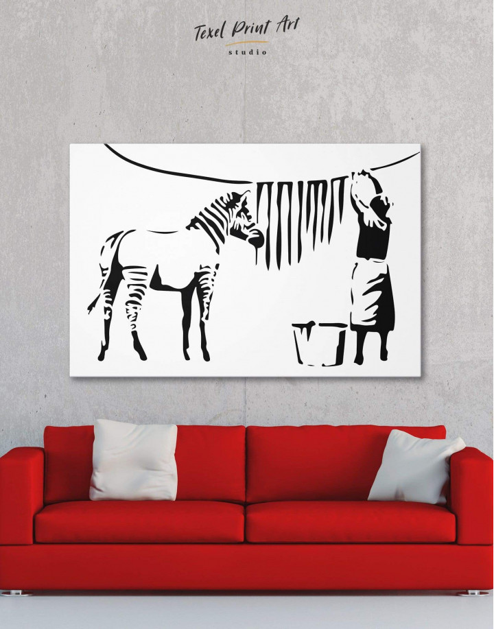 Washing Zebra Stripes by Banksy Canvas Wall Art - Image 5
