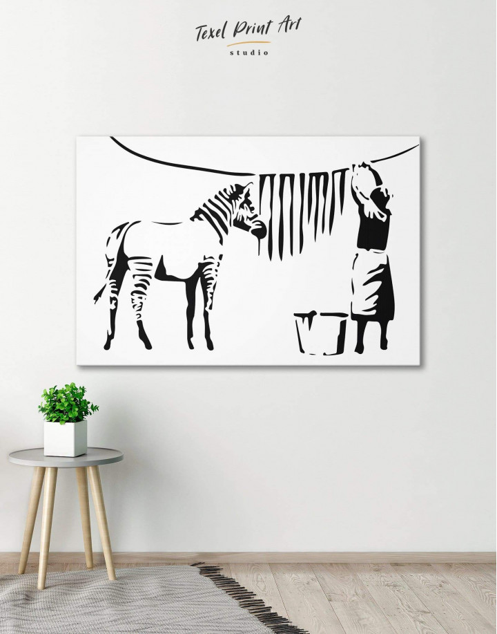 Washing Zebra Stripes by Banksy Canvas Wall Art - Image 0