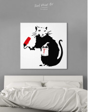 Paint Roller Rat by Banksy Canvas Wall Art - Image 0