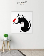 Paint Roller Rat by Banksy Canvas Wall Art - Image 3