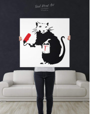 Paint Roller Rat by Banksy Canvas Wall Art - Image 2