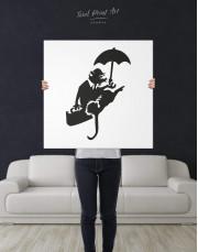 Umbrella Rat by Banksy Canvas Wall Art - Image 2
