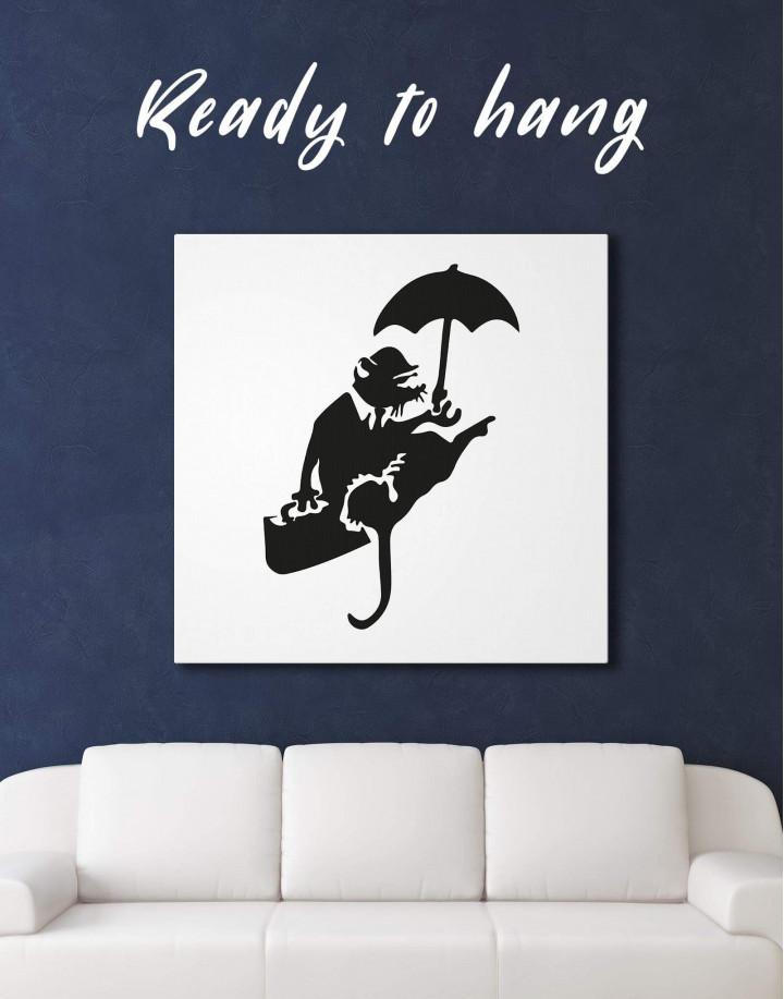 Umbrella Rat by Banksy Canvas Wall Art - Image 3
