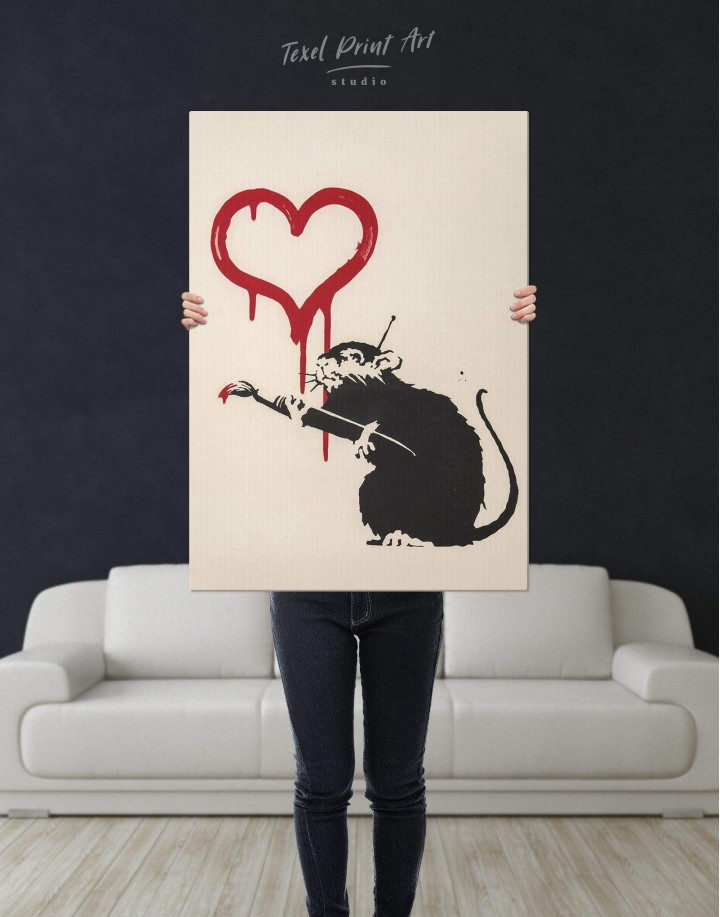 Banksy's Love Rat  Canvas Wall Art - Image 3
