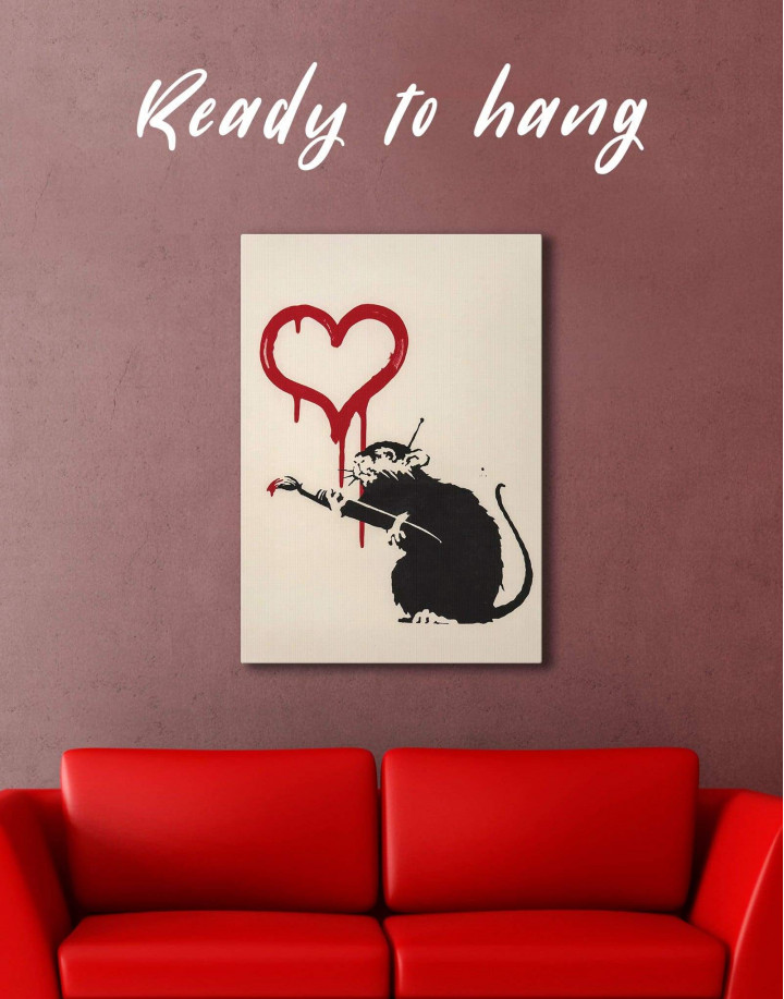Banksy's Love Rat  Canvas Wall Art - Image 0