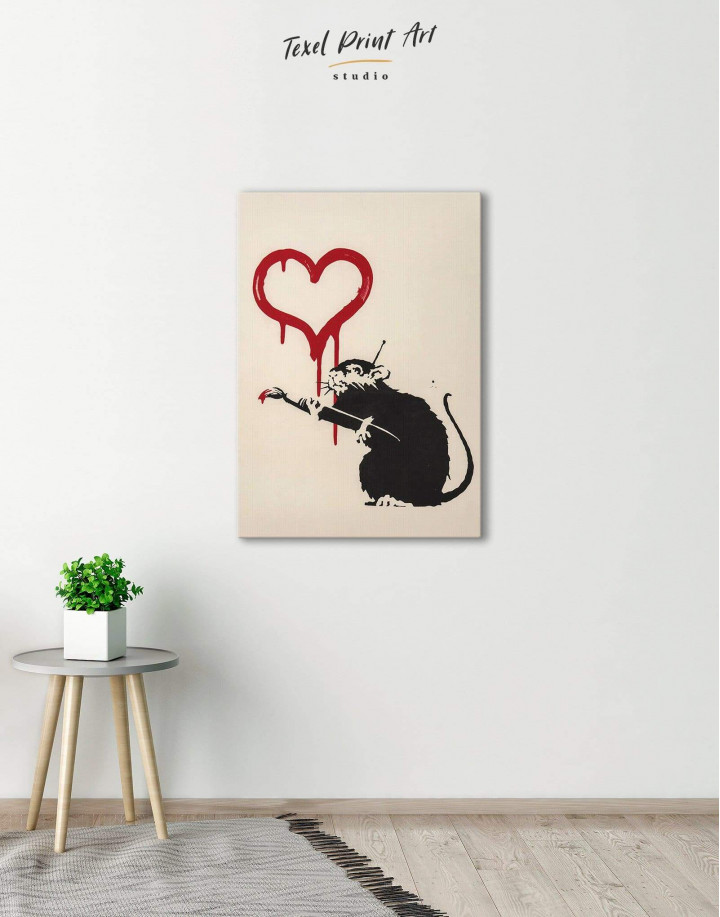 Banksy's Love Rat  Canvas Wall Art - Image 5
