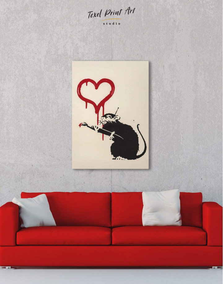 Banksy's Love Rat  Canvas Wall Art - Image 2