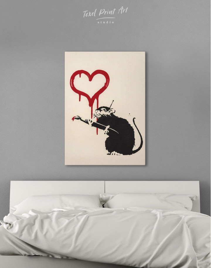 Banksy's Love Rat  Canvas Wall Art - Image 4