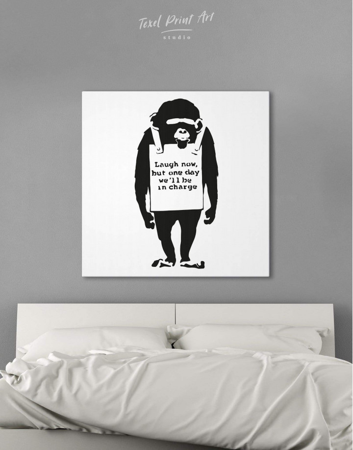 Chimp Laugh Now by Banksy Canvas Wall Art - Image 0