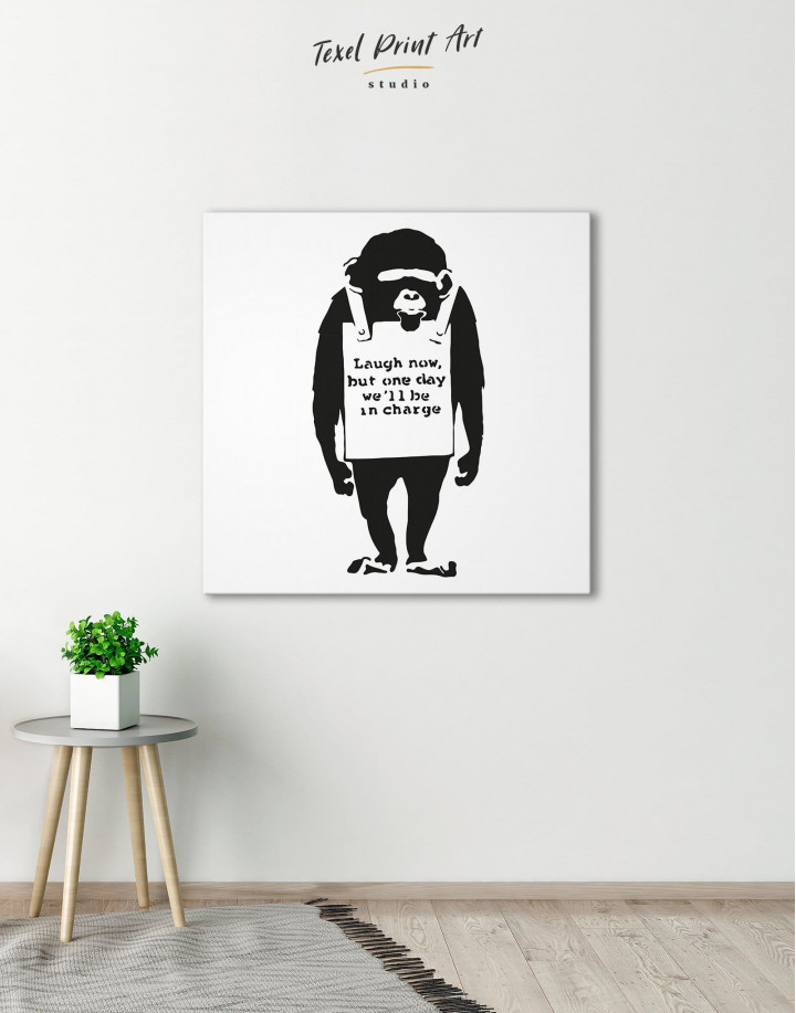 Chimp Laugh Now by Banksy Canvas Wall Art - Image 4
