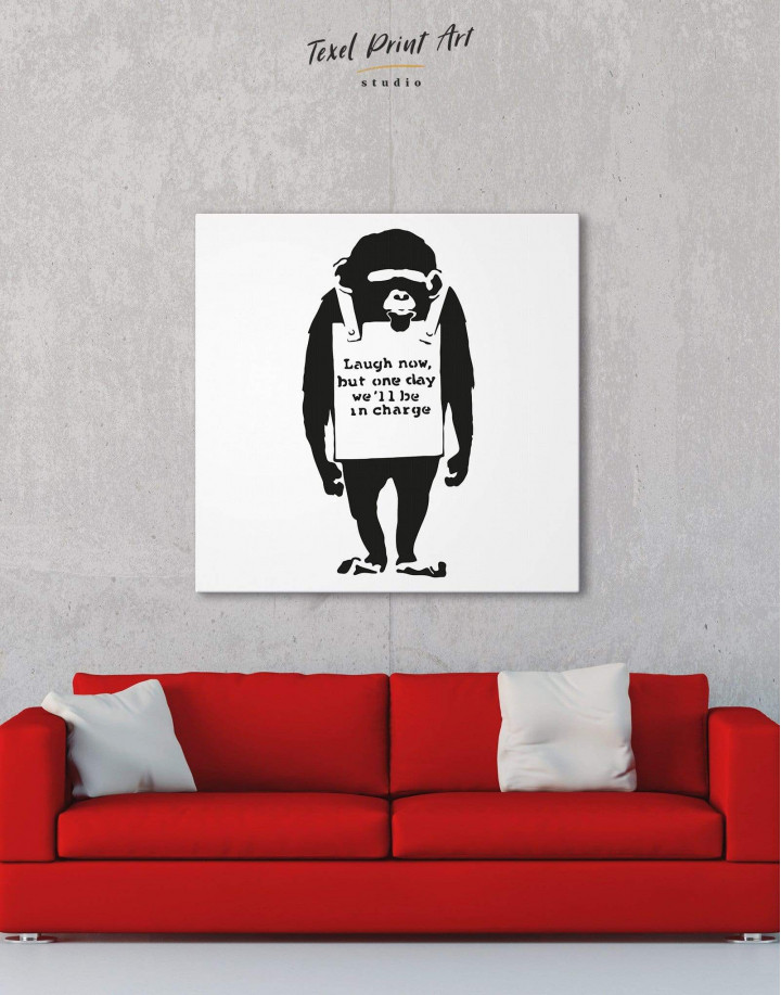 Chimp Laugh Now by Banksy Canvas Wall Art - Image 3