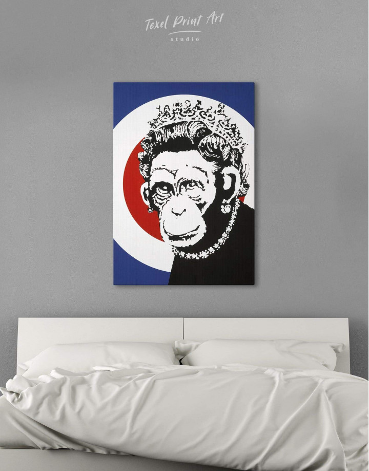Monkey Queen by Banksy  Canvas Wall Art - Image 3