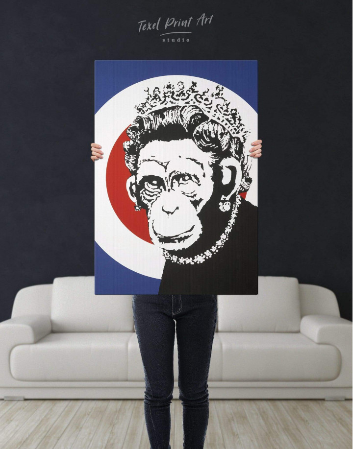 Monkey Queen by Banksy  Canvas Wall Art - Image 2