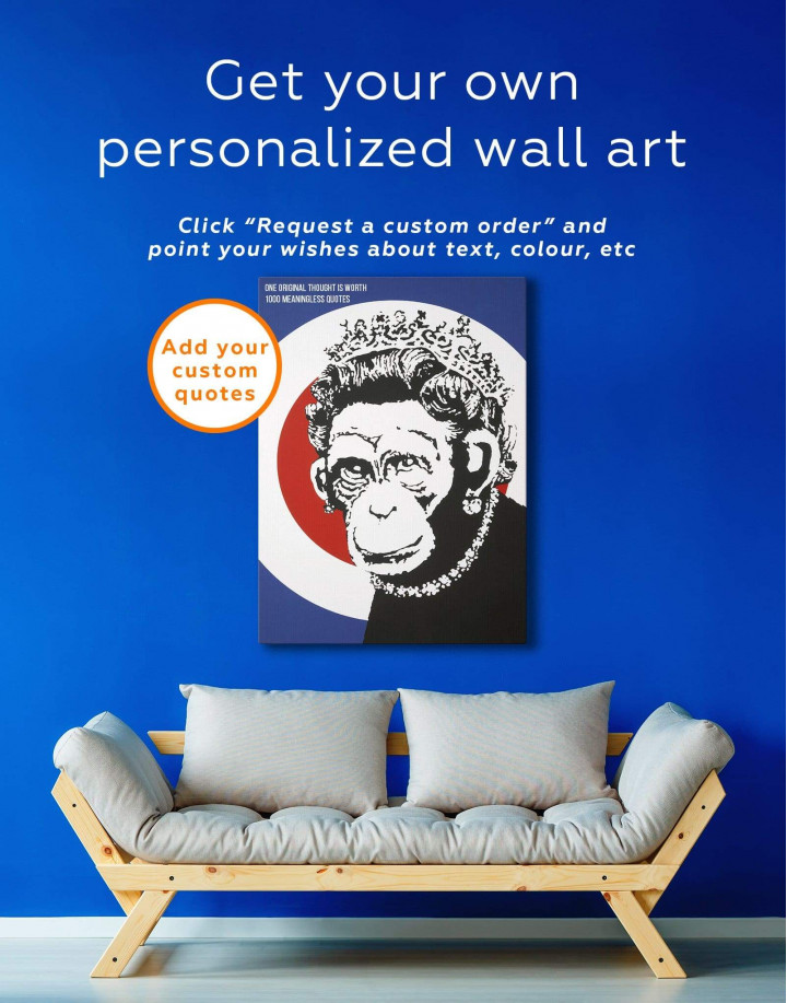 Monkey Queen by Banksy  Canvas Wall Art - Image 1