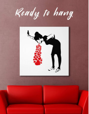 Girl Throwing Up Hearts by Banksy Canvas Wall Art