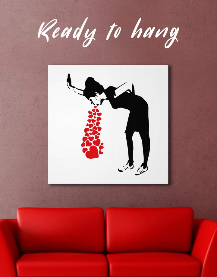 Girl Throwing Up Hearts by Banksy Canvas Wall Art - Image 0