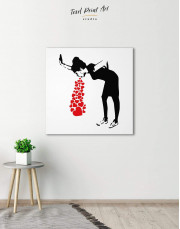 Girl Throwing Up Hearts by Banksy Canvas Wall Art - Image 2