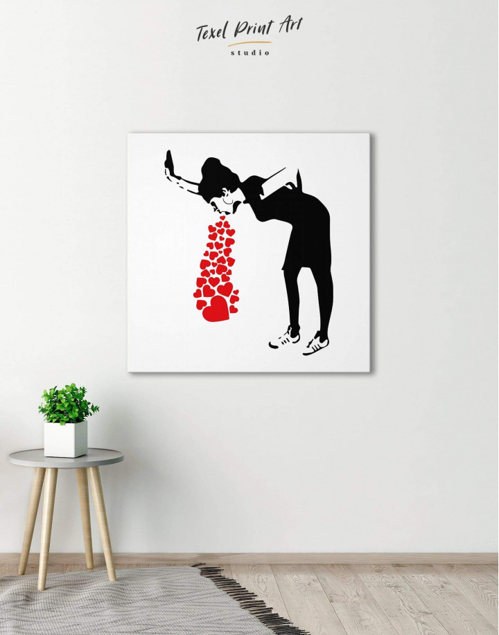 Girl Throwing Up Hearts by Banksy Canvas Wall Art - Image 3
